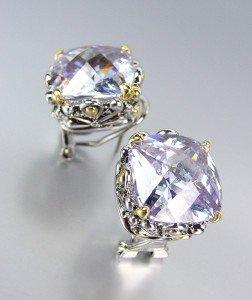 Designer Style Silver Gold Balinese Filigree Lavender Quartz CZ Crystal Earrings