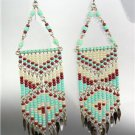 Turquoise Multi Beads Bohemian Boho Gypsy Peruvian Chandelier Dangle Earrings 15