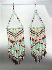 Turquoise Multi Beads Bohemian Boho Gypsy Peruvian Chandelier Dangle Earrings 15