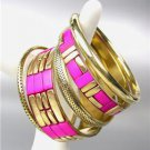 CHIC 5 PC Byzantine Fuchsia Pink Resin Horn Antique Gold Brass Bangles Bracelet