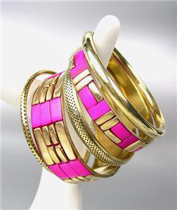 CHIC 5 PC Byzantine Fuchsia Pink Resin Horn Antique Gold Brass Bangles Bracelet
