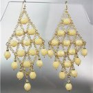 EXQUISITE Creme Ivory Aventurine Gemstone Gold Chandelier Peruvian Earrings