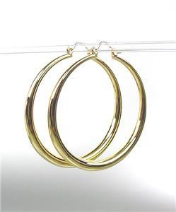 "CLASSIC Graduated GOLD Metal 1 3/4"" Round Hoop Pincatch Earrings"