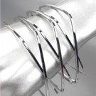 UNIQUE Silver Metal Square CrissCrossed Ribbed Bangle Bracelet