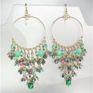 GORGEOUS Multicolor Crystals Peruvian Beads Gold Chandelier Dangle Earrings B30L