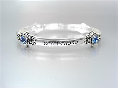 INSPIRATIONAL Silver GOD IS GOOD ALL THE TIME Blue Crystals Stretch Bracelet