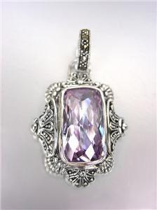 VINTAGE Victorian Sterling Silver Lavender Quartz CZ Marcasite Crystals Pendant