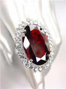 STUNNING Chunky Garnet Red CZ Crystal Round CZ Crystals Oval Cocktail Ring