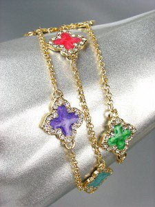 NEW 18kt Gold Plated Chains Multi Enamel Clover Clovers CZ Crystals Bracelet