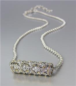 Designer Style Silver Gold Balinese Floral Butterfly CZ Crystals Barrel Necklace