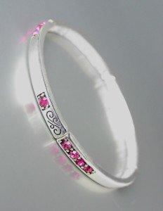 NEW Brighton Bay Silver Filigree Fuchsia Pink CZ Crystals Stretch Bracelet #39