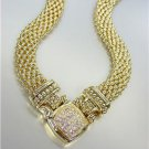 NEW Designer Inspired GOLD Mesh Pave CZ Crystals Magnetic Clasp NECKLACE
