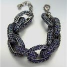 STUNNING Chunky Designer Montana Sapphire Blue CZ Crystals Chain Links Bracelet