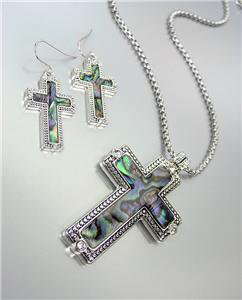 CLASSIC Brighton Bay Silver Kali Dots Mother Pearl Shell CZ Cross Necklace Set
