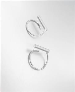 CHIC Minimalist Urban Anthropologie Mat Burnished Silver BAR Twist Wire Earrings