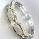 CLASSIC Pave CZ Crystals Oval End Tips Silver Hinged Bangle Bracelet