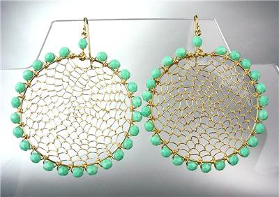 CHIC Turquoise Crystal Beads Gold Honeycomb Wire Chandelier Peruvian Earrings