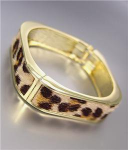 EXOTIC Square Gold Metal Faux Leopard Fur Hinged Bangle Bracelet