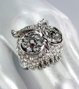 SPARKLE Antique Metal Smoky Clear Black CZ Crystals Owl Ring