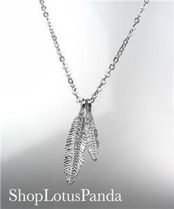 CHIC 18kt White Gold Plated CZ Crystals LEAF Pendant Petite Dainty Necklace