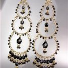 STUNNING Black Onyx Crystal Beads Gold Chandelier Dangle Peruvian Earrings