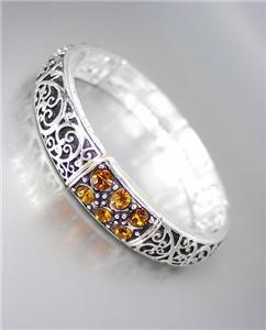NEW Brighton Bay Brown Topaz CZ Crystals Silver Black Filigree Stretch Bracelet