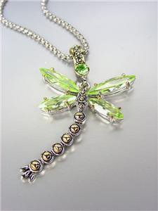 Designer Inspired Chunky Peridot Green CZ Crystals Balinese Dragonfly Necklace