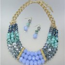 CHIC Anthropologie Smoky Blue Czech Labradorite Chalcedony Crystals Necklace Set