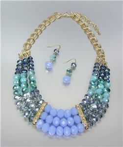CHIC Anthropologie Smoky Blue Czech Labradorite Chalcedony Crystals Necklace Set