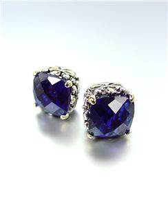 Designer PETITE Silver Gold Balinese Filigree Sapphire Blue CZ Crystal Earrings