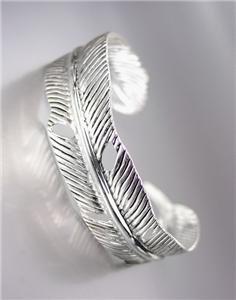 UNIQUE Natural Silver Texture Metal LEAF Cuff Bracelet