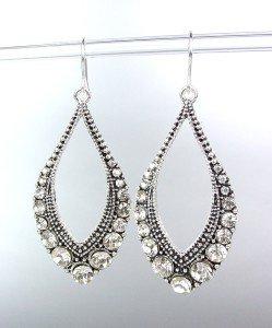 SPARKLE Antique Silver Metal CZ Crystals Tear Drop Dangle Earrings