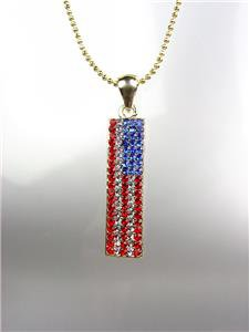 GOLD Red White Blue Swarovski Crystals Patriotic USA American Flag Necklace 1136