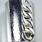 CHIC Designer Style Chunky Silver Chain Long Wide Statement Cuff Bracelet