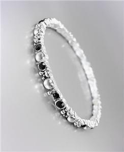CLASSIC NEW Brighton Bay Silver Dots Metal Black CZ Crystals Stretch Bracelet