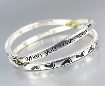 Inspirational Footprints WHEN I CARRIED YOU Stackable Stretch Bracelet