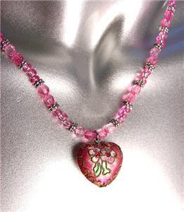 DECORATIVE Pink Multi Cloisonne Enamel Floral Heart Pendant Necklace