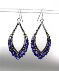 SPARKLE Antique Silver Metal CZ Sapphire Blue Crystals Tear Drop Dangle Earrings