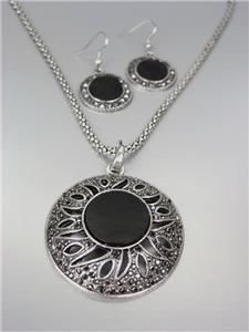 UNIQUE Antique Silver Marcasite Crystals Medallion Mesh Chain Necklace Set