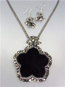 FABULOUS Antique Silver Marcasite Crystals Medallion Mesh Chain Necklace Set