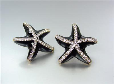 ADORABLE Sparkle Black Lacquer Enamel CZ Crystals STARFISH Earrings