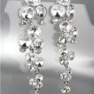 EXQUISITE Clear Czech Crystals WATERFALL Drippy Long Dangle Earrings