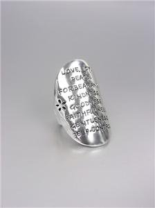 INSPIRATIONAL Silver LOVE JOY PEACE KINDNESS FAITHFULNESS Oval Stretch Ring
