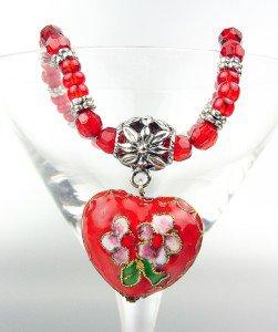 Vintage Red Floral Cloisonne Enamel Heart Charm Beads Stretch Bracelet