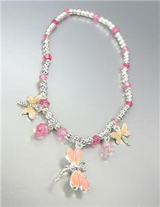 ADORABLE Pink Enamel Dragonfly Charms Acrylic Crystals Silver Stretch Anklet
