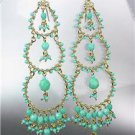 STUNNING Turquoise Crystal Beads Gold Chandelier Dangle Peruvian Earrings B13-1