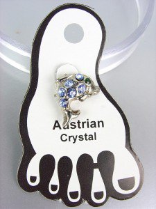 ADORABLE Blue Austrian Crystal DOLPHIN Invisible PETITE Toe Ring