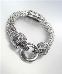 CLASSIC Brighton Bay Silver Ring Filigree Mesh Straps Magnetic Clasp Bracelet