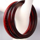 CHIC 3 PC Thin Faux Wood Brown Amber Red Dots Acrylic Bangles Bracelet Set
