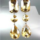 GLITZY Light Gold Brown Czech Crystals LONG Bridal Queen Pageant Prom Earrings